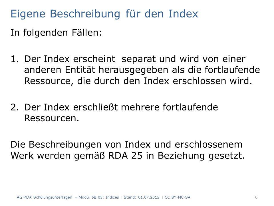 Eigene Beschreibung für den Index In folgenden Fällen: 1.Der Index erscheint separat und wird von einer anderen Entität herausgegeben als die fortlaufende Ressource, die durch den Index erschlossen wird.