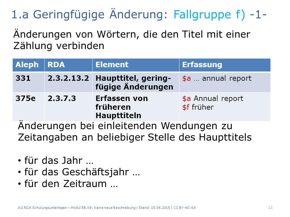 AG RDA Schulungsunterlagen – Modul 5B.09: Keine neue Beschreibung | Stand: 15.06.2015 | CC BY-NC-SA13 AlephRDAElementErfassung 3312.3.2.13.2Haupttitel, gering- fügige Änderungen $a … annual report 375e2.3.7.3Erfassen von früheren Haupttiteln $a Annual report $f früher 1.a Geringfügige Änderung: Fallgruppe f) -1- Änderungen von Wörtern, die den Titel mit einer Zählung verbinden Änderungen bei einleitenden Wendungen zu Zeitangaben an beliebiger Stelle des Haupttitels für das Jahr … für das Geschäftsjahr … für den Zeitraum …