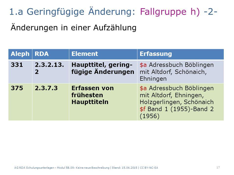 AG RDA Schulungsunterlagen – Modul 5B.09: Keine neue Beschreibung | Stand: 15.06.2015 | CC BY-NC-SA 17 AlephRDAElementErfassung 3312.3.2.13.