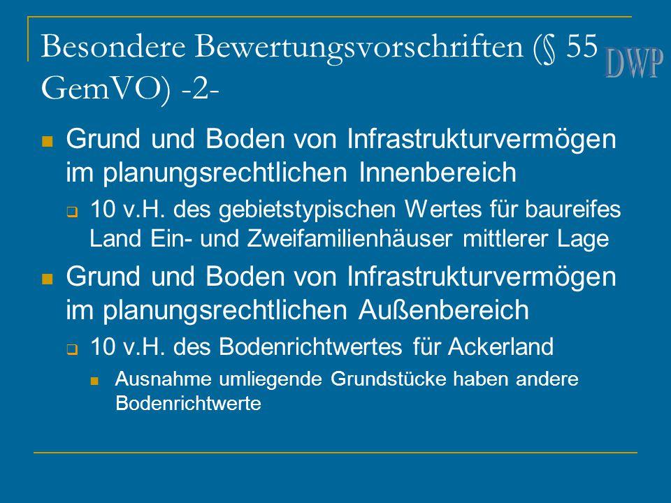 Besondere Bewertungsvorschriften (§ 55 GemVO) -2- Grund und Boden von Infrastrukturvermögen im planungsrechtlichen Innenbereich  10 v.H. des gebietst