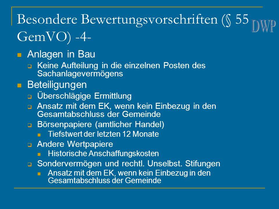 Besondere Bewertungsvorschriften (§ 55 GemVO) -4- Anlagen in Bau  Keine Aufteilung in die einzelnen Posten des Sachanlagevermögens Beteiligungen  Üb
