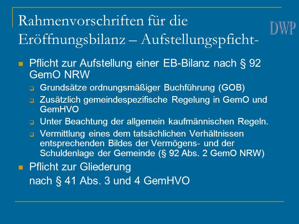 Rahmenvorschriften für die Eröffnungsbilanz – Aufstellungspficht- Pflicht zur Aufstellung einer EB-Bilanz nach § 92 GemO NRW  Grundsätze ordnungsmäßi