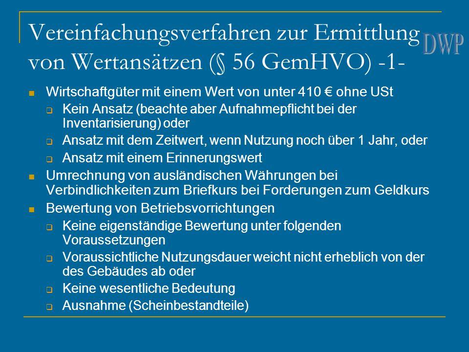 Vereinfachungsverfahren zur Ermittlung von Wertansätzen (§ 56 GemHVO) -1- Wirtschaftgüter mit einem Wert von unter 410 € ohne USt  Kein Ansatz (beach