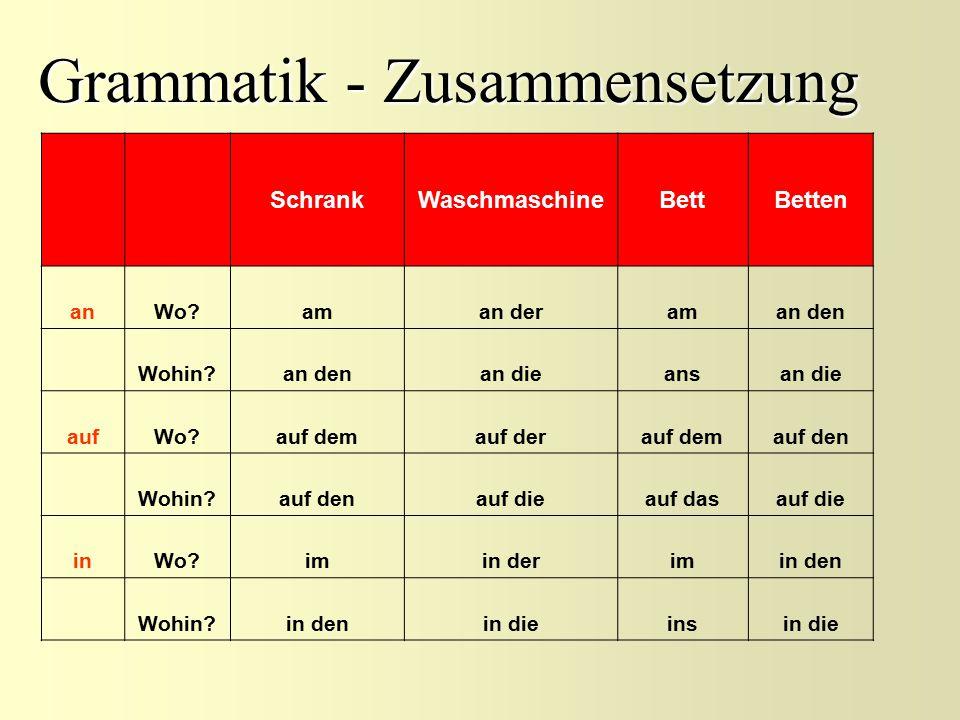 Grammatik - Zusammensetzung SchrankWaschmaschineBettBetten anWo?aman deraman den Wohin?an denan dieansan die aufWo?auf demauf derauf demauf den Wohin?