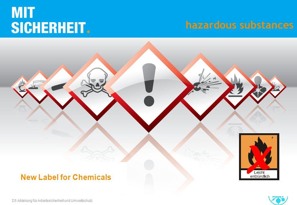 D5 Abteilung für Arbeitssicherheit und Umweltschutz hazardous substances X New Label for Chemicals