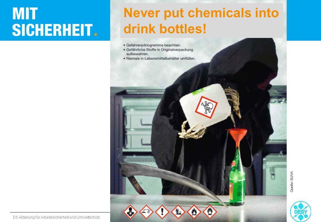 D5 Abteilung für Arbeitssicherheit und Umweltschutz Gefahrstoffe Quelle: SUVA Never put chemicals into drink bottles!