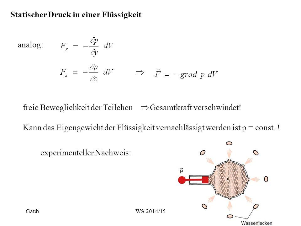 analog: Statischer Druck in einer Flüssigkeit  freie Beweglichkeit der Teilchen  Gesamtkraft verschwindet! Kann das Eigengewicht der Flüssigkeit ver