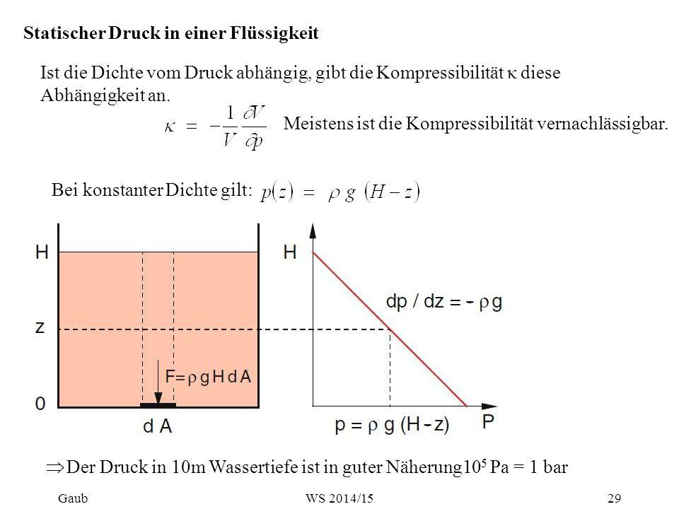 Statischer Druck in einer Flüssigkeit Ist die Dichte vom Druck abhängig, gibt die Kompressibilität κ diese Abhängigkeit an. Meistens ist die Kompressi