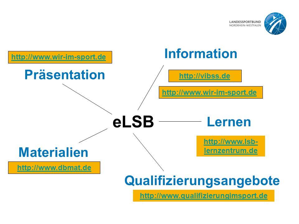 eLSB Information Lernen Qualifizierungsangebote Materialien Präsentation http://www.wir-im-sport.de http://www.qualifizierungimsport.de http://vibss.de http://www.dbmat.de http://www.lsb- lernzentrum.de http://www.wir-im-sport.de