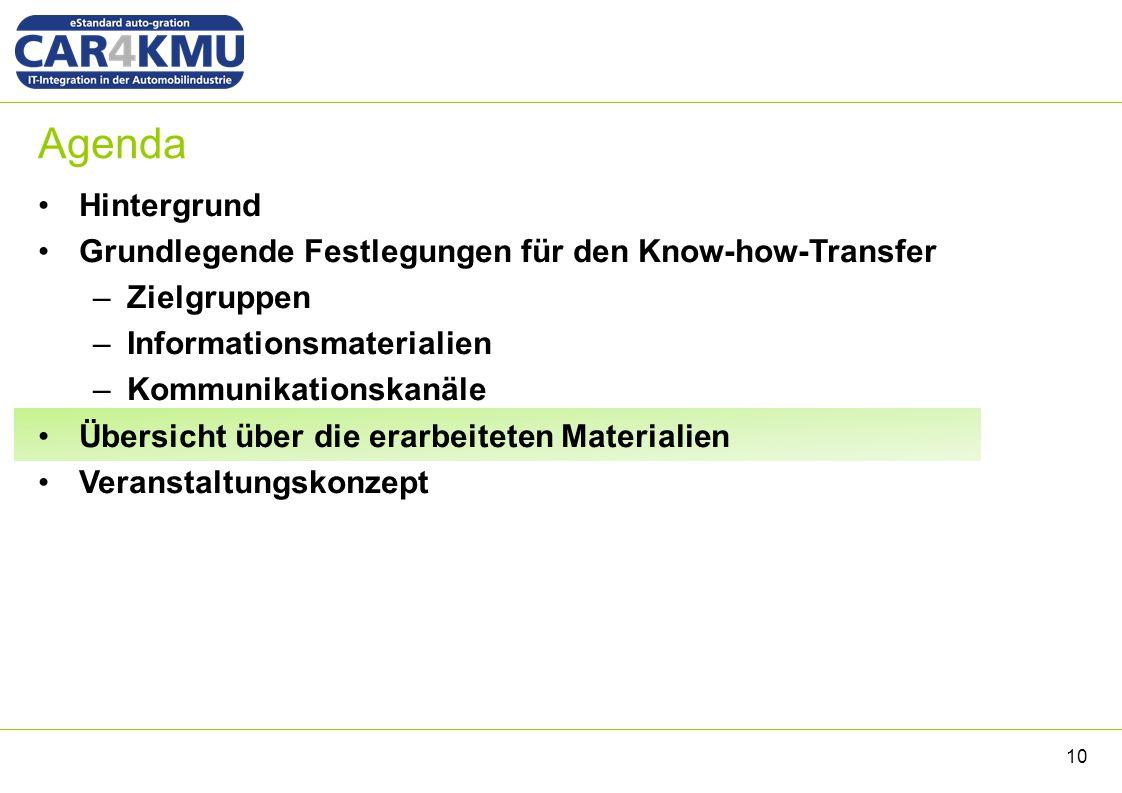 Agenda Hintergrund Grundlegende Festlegungen für den Know-how-Transfer –Zielgruppen –Informationsmaterialien –Kommunikationskanäle Übersicht über die erarbeiteten Materialien Veranstaltungskonzept 10