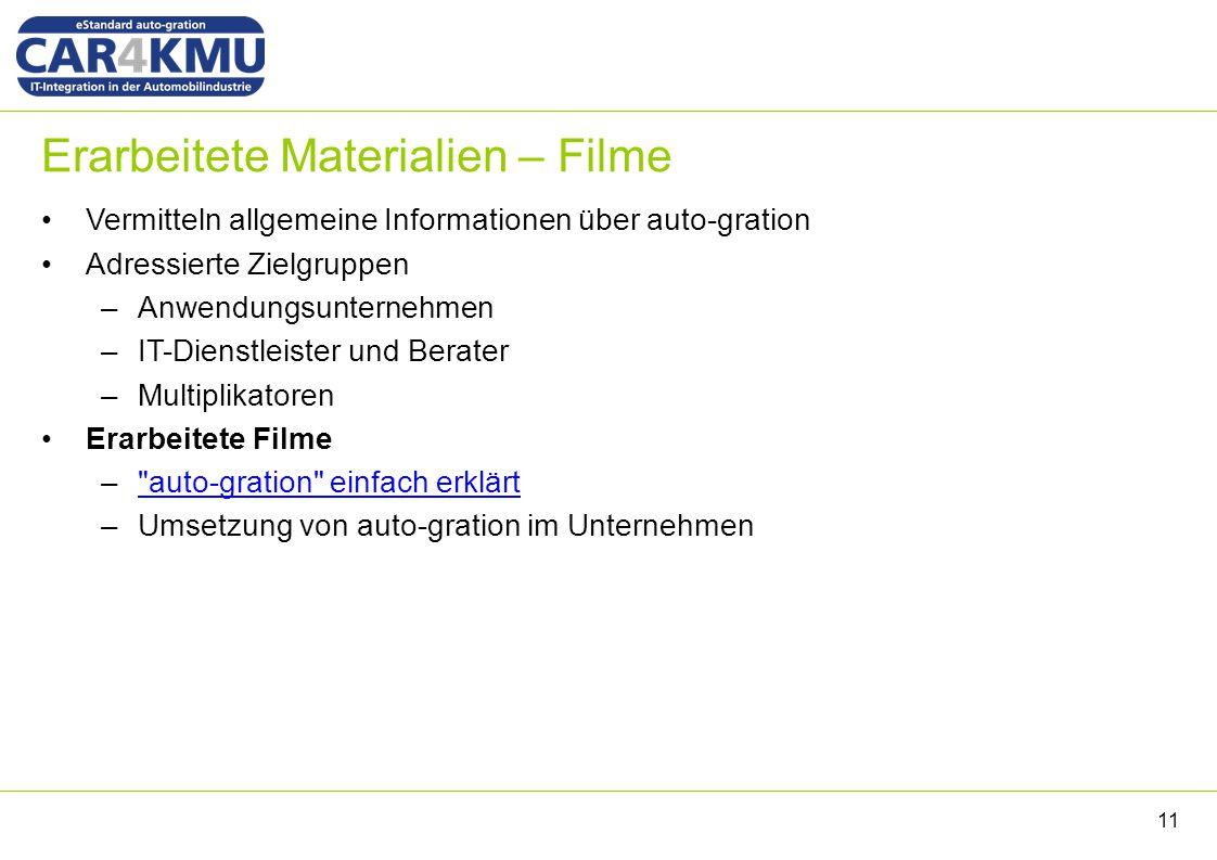 Erarbeitete Materialien – Filme Vermitteln allgemeine Informationen über auto-gration Adressierte Zielgruppen –Anwendungsunternehmen –IT-Dienstleister
