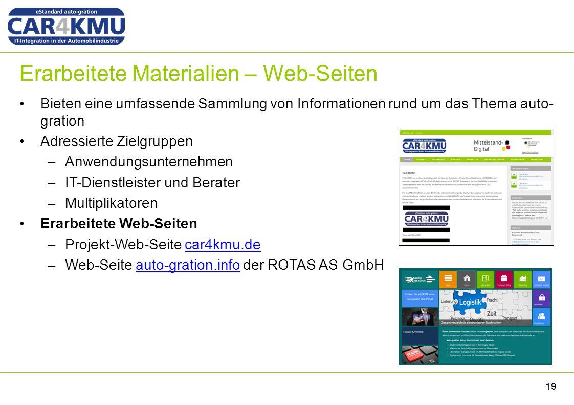 Erarbeitete Materialien – Web-Seiten Bieten eine umfassende Sammlung von Informationen rund um das Thema auto- gration Adressierte Zielgruppen –Anwend