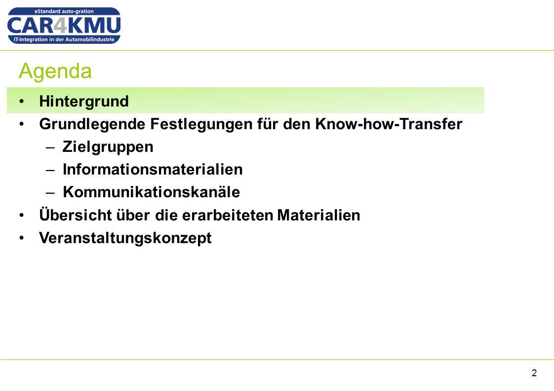 Agenda Hintergrund Grundlegende Festlegungen für den Know-how-Transfer –Zielgruppen –Informationsmaterialien –Kommunikationskanäle Übersicht über die erarbeiteten Materialien Veranstaltungskonzept 2