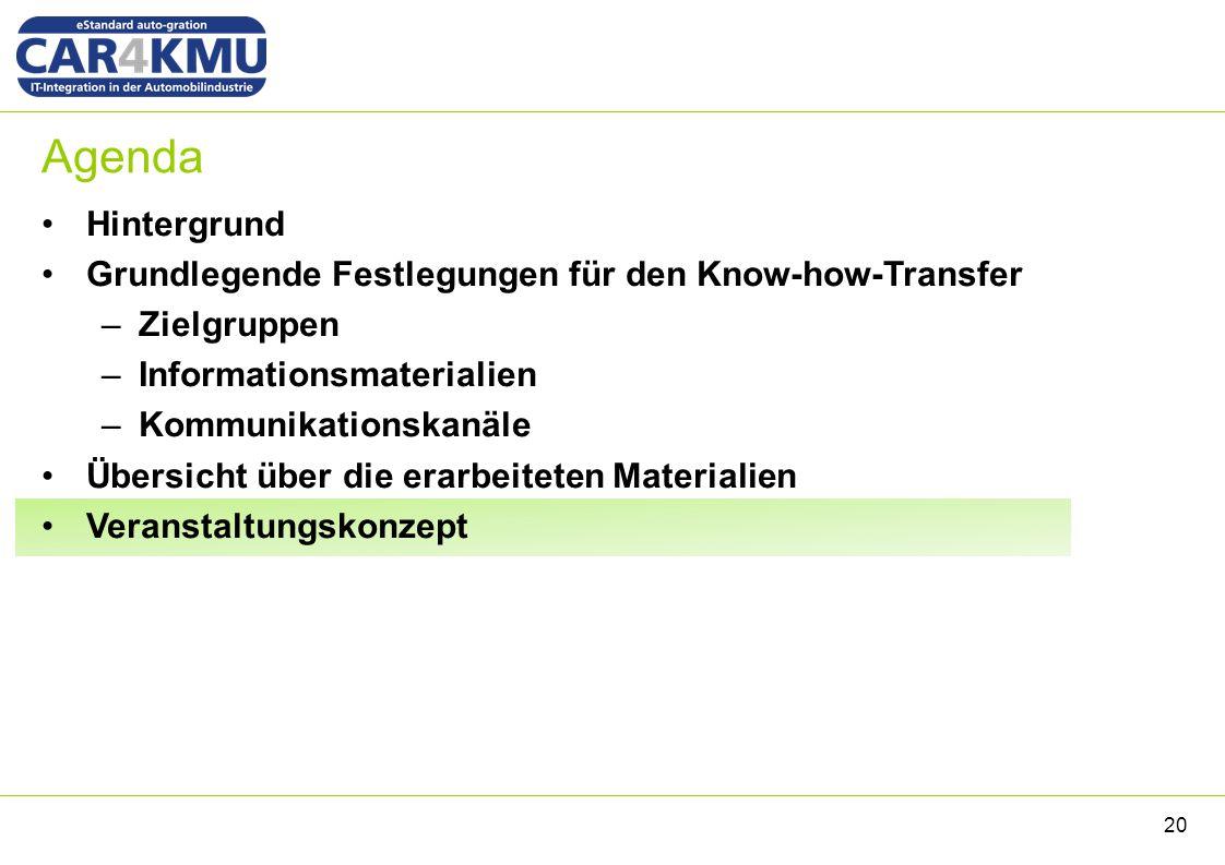 Agenda Hintergrund Grundlegende Festlegungen für den Know-how-Transfer –Zielgruppen –Informationsmaterialien –Kommunikationskanäle Übersicht über die erarbeiteten Materialien Veranstaltungskonzept 20