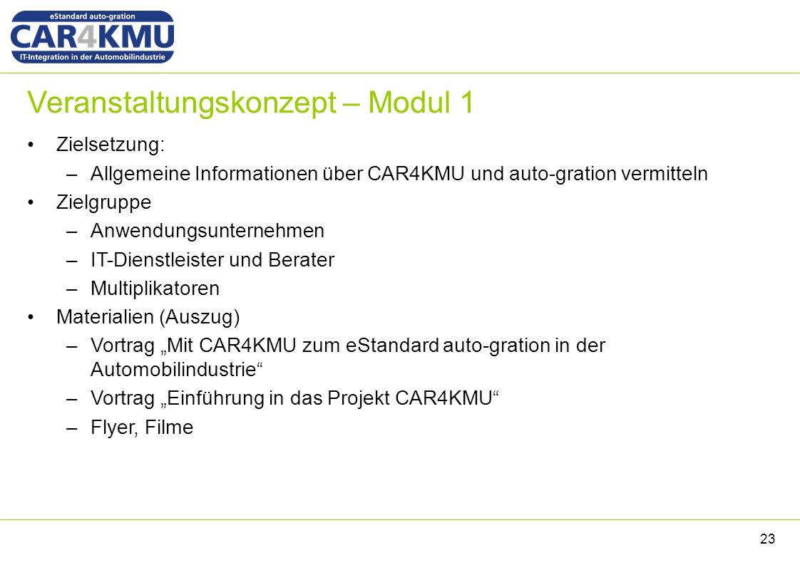 Veranstaltungskonzept – Modul 1 Zielsetzung: –Allgemeine Informationen über CAR4KMU und auto-gration vermitteln Zielgruppe –Anwendungsunternehmen –IT-