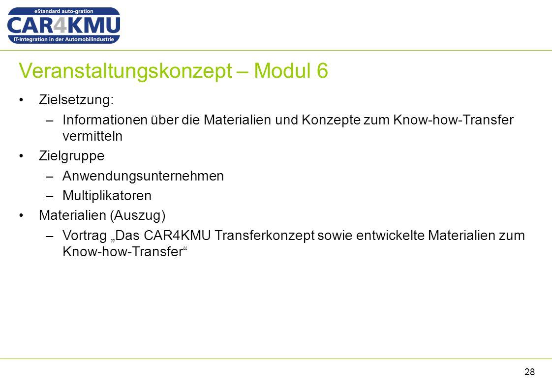 """Veranstaltungskonzept – Modul 6 Zielsetzung: –Informationen über die Materialien und Konzepte zum Know-how-Transfer vermitteln Zielgruppe –Anwendungsunternehmen –Multiplikatoren Materialien (Auszug) –Vortrag """"Das CAR4KMU Transferkonzept sowie entwickelte Materialien zum Know-how-Transfer 28"""