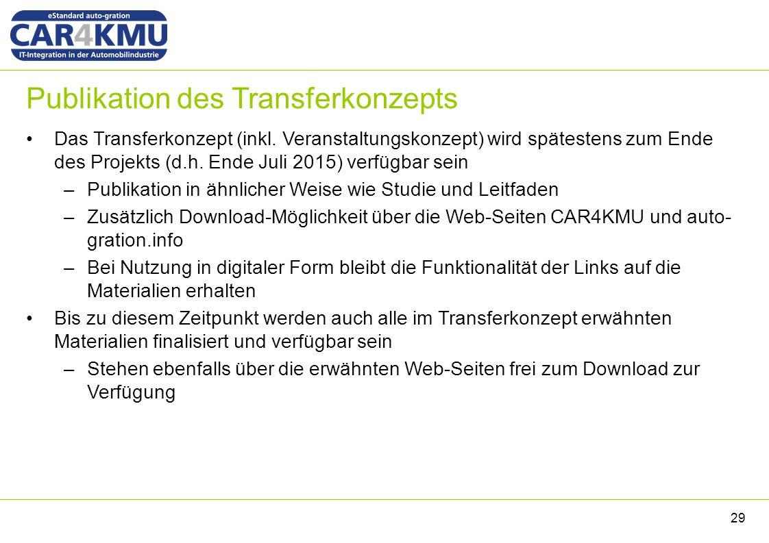 Publikation des Transferkonzepts Das Transferkonzept (inkl. Veranstaltungskonzept) wird spätestens zum Ende des Projekts (d.h. Ende Juli 2015) verfügb