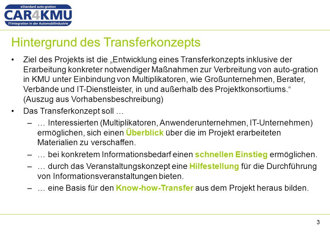 Agenda Hintergrund Grundlegende Festlegungen für den Know-how-Transfer –Zielgruppen –Informationsmaterialien –Kommunikationskanäle Übersicht über die erarbeiteten Materialien Veranstaltungskonzept 4