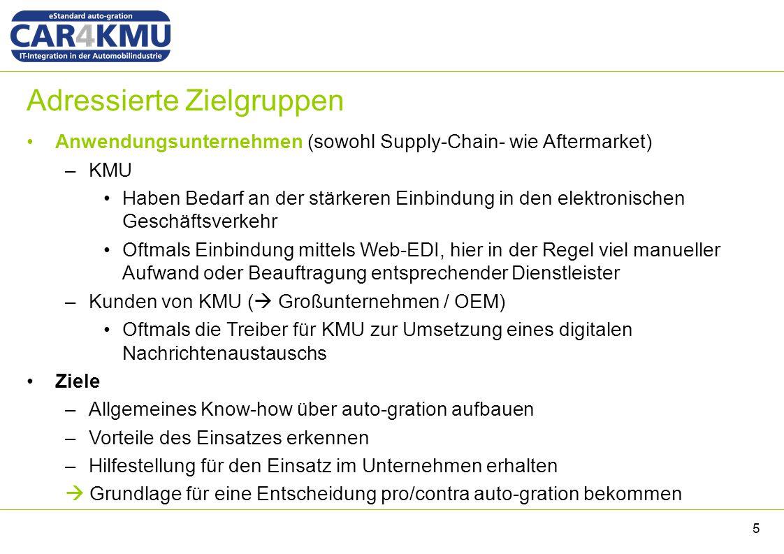 Adressierte Zielgruppen Anwendungsunternehmen (sowohl Supply-Chain- wie Aftermarket) –KMU Haben Bedarf an der stärkeren Einbindung in den elektronisch