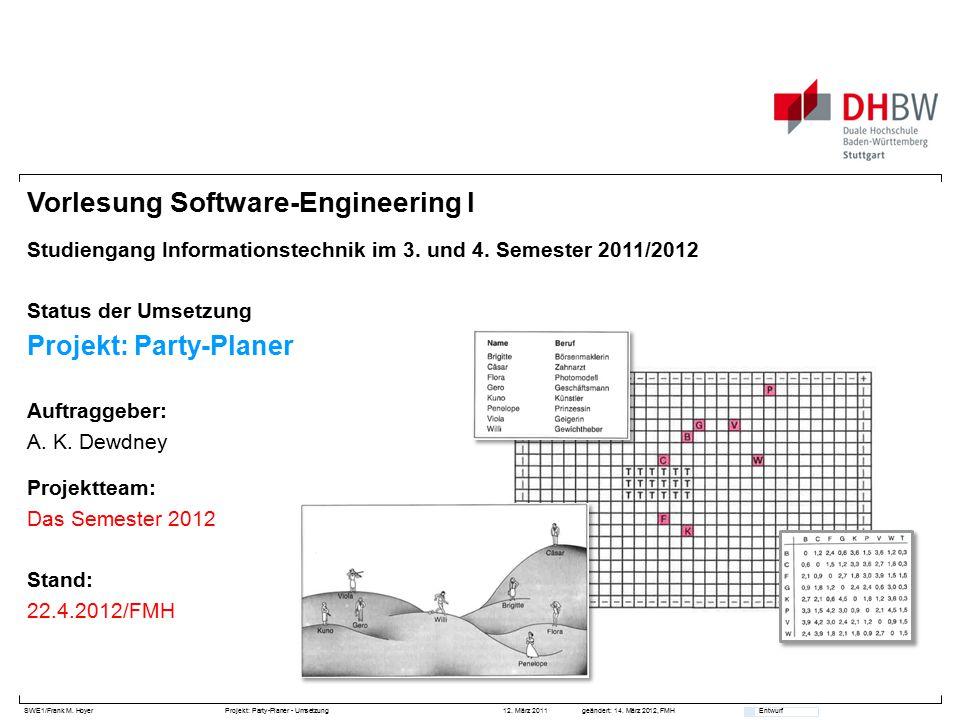 SWE1/Frank M. HoyerProjekt: Party-Planer - Umsetzung 12. März 2011geändert: 14. März 2012, FMH Entwurf Vorlesung Software-Engineering I Studiengang In