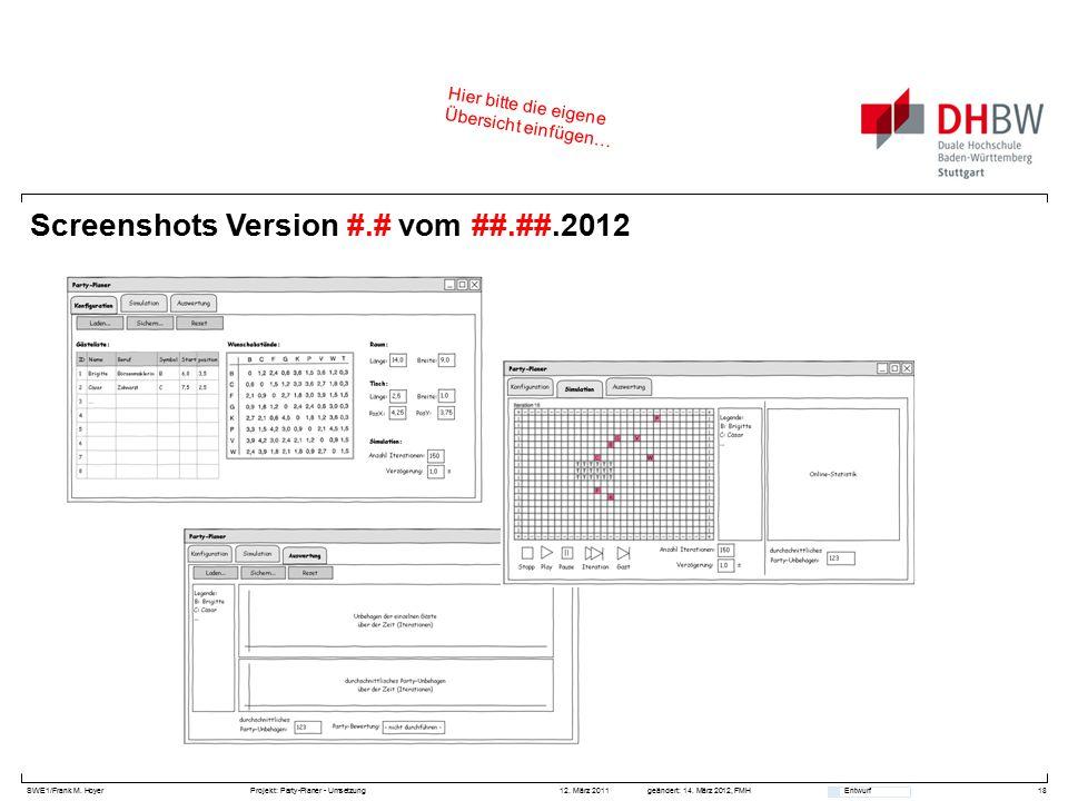 SWE1/Frank M. HoyerProjekt: Party-Planer - Umsetzung 12. März 2011geändert: 14. März 2012, FMH Entwurf Screenshots Version #.# vom ##.##.2012 18 Hier