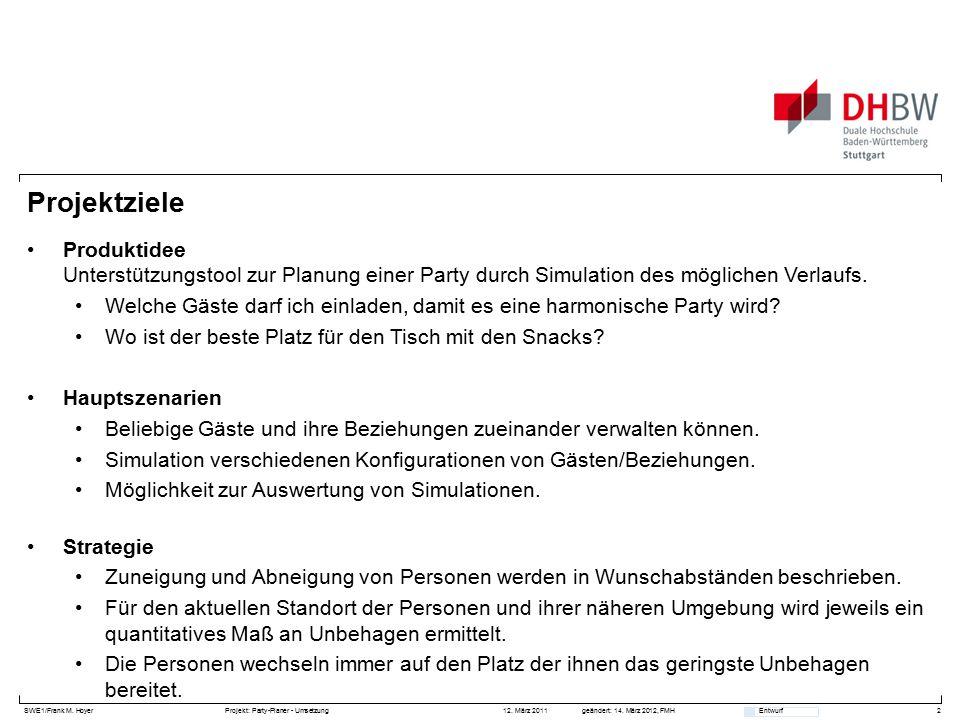 SWE1/Frank M. HoyerProjekt: Party-Planer - Umsetzung 12. März 2011geändert: 14. März 2012, FMH Entwurf Projektziele Produktidee Unterstützungstool zur
