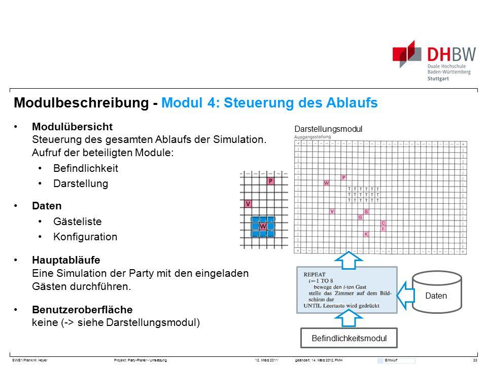 SWE1/Frank M. HoyerProjekt: Party-Planer - Umsetzung 12. März 2011geändert: 14. März 2012, FMH Entwurf Modulbeschreibung - Modul 4: Steuerung des Abla