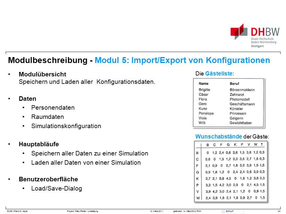 SWE1/Frank M. HoyerProjekt: Party-Planer - Umsetzung 12. März 2011geändert: 14. März 2012, FMH Entwurf Modulbeschreibung - Modul 5: Import/Export von