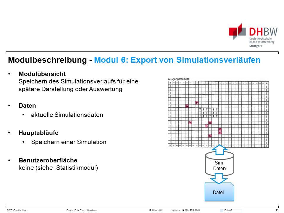 SWE1/Frank M. HoyerProjekt: Party-Planer - Umsetzung 12. März 2011geändert: 14. März 2012, FMH Entwurf Datei Modulbeschreibung - Modul 6: Export von S