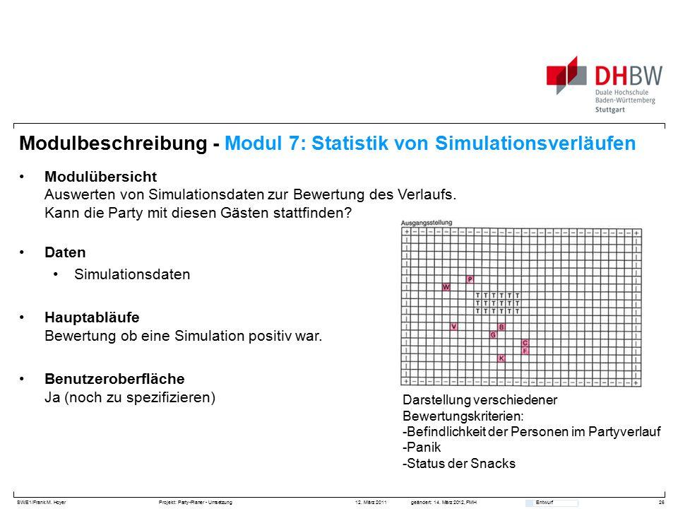 SWE1/Frank M. HoyerProjekt: Party-Planer - Umsetzung 12. März 2011geändert: 14. März 2012, FMH Entwurf Modulbeschreibung - Modul 7: Statistik von Simu