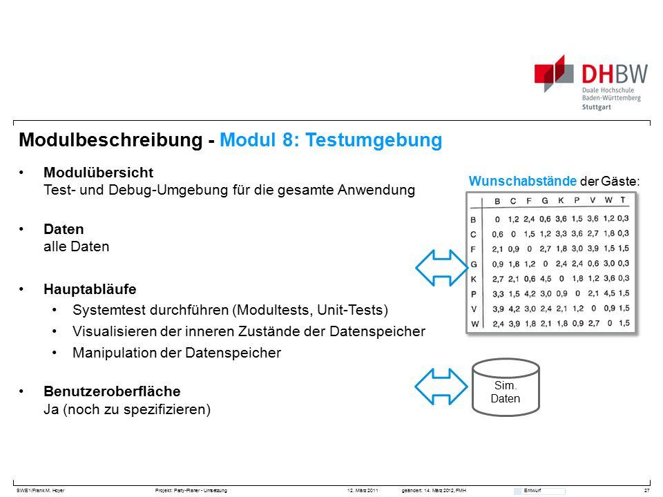 SWE1/Frank M. HoyerProjekt: Party-Planer - Umsetzung 12. März 2011geändert: 14. März 2012, FMH Entwurf Modulbeschreibung - Modul 8: Testumgebung Modul