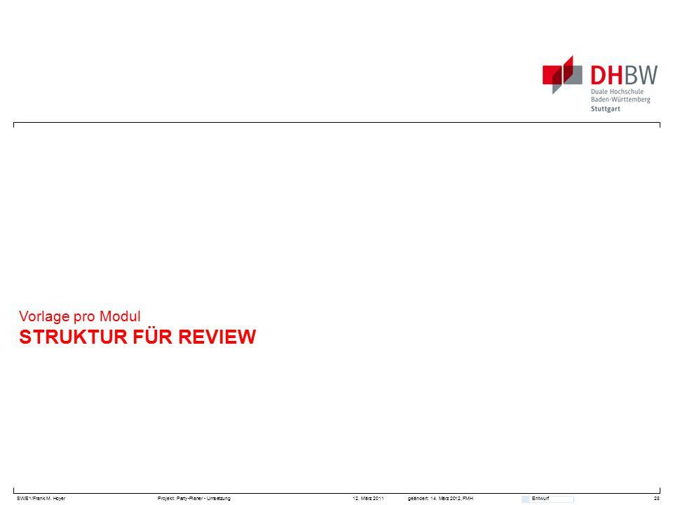 SWE1/Frank M. HoyerProjekt: Party-Planer - Umsetzung 12. März 2011geändert: 14. März 2012, FMH Entwurf STRUKTUR FÜR REVIEW Vorlage pro Modul 28