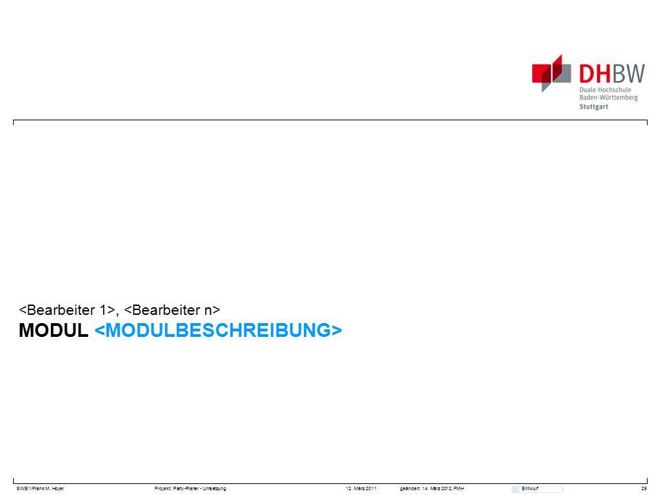 SWE1/Frank M. HoyerProjekt: Party-Planer - Umsetzung 12. März 2011geändert: 14. März 2012, FMH Entwurf MODUL, 29
