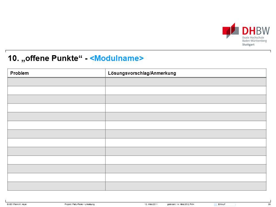 """SWE1/Frank M. HoyerProjekt: Party-Planer - Umsetzung 12. März 2011geändert: 14. März 2012, FMH Entwurf 10. """"offene Punkte"""" - 39 ProblemLösungsvorschla"""