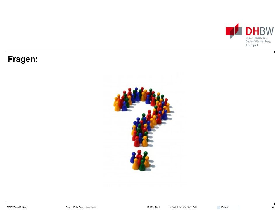 SWE1/Frank M. HoyerProjekt: Party-Planer - Umsetzung 12. März 2011geändert: 14. März 2012, FMH Entwurf Fragen: 40