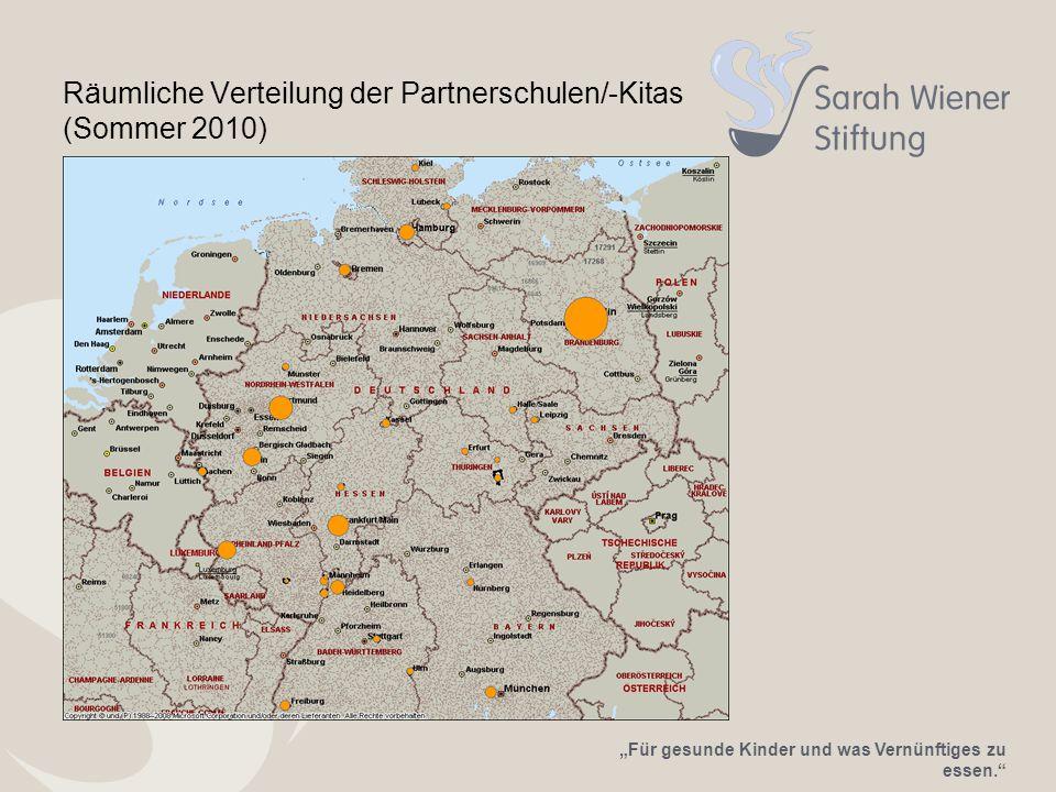 """""""Für gesunde Kinder und was Vernünftiges zu essen. Räumliche Verteilung der Partnerschulen/-Kitas (Sommer 2010)"""