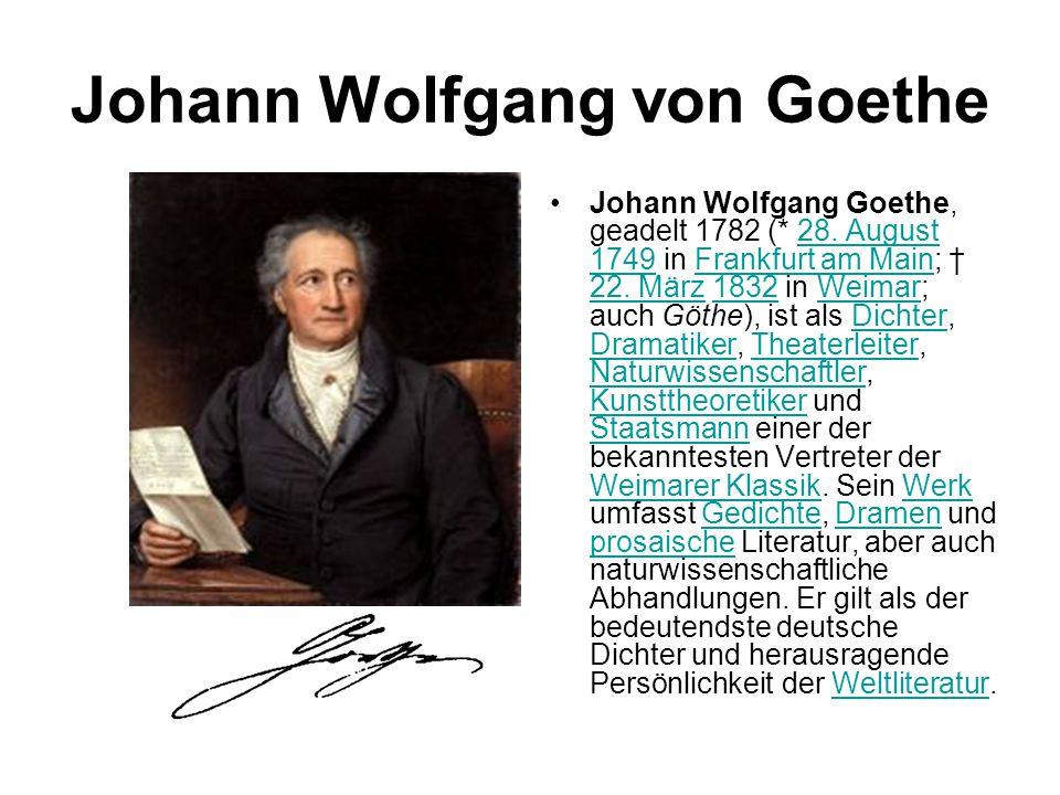 Johann Wolfgang von Goethe Johann Wolfgang Goethe, geadelt 1782 (* 28. August 1749 in Frankfurt am Main; † 22. März 1832 in Weimar; auch Göthe), ist a