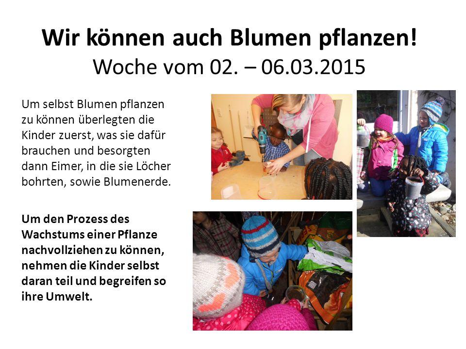 Wir können auch Blumen pflanzen! Woche vom 02. – 06.03.2015 Um selbst Blumen pflanzen zu können überlegten die Kinder zuerst, was sie dafür brauchen u