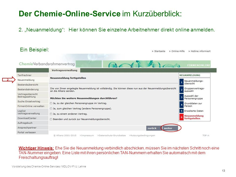 13 Vorstellung des Chemie-Online-Services / MDLOV-F/ U.