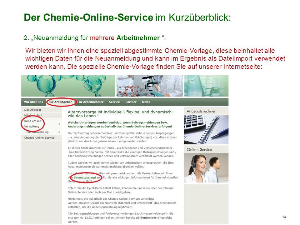 14 Der Chemie-Online-Service im Kurzüberblick: Wir bieten wir Ihnen eine speziell abgestimmte Chemie-Vorlage, diese beinhaltet alle wichtigen Daten für die Neuanmeldung und kann im Ergebnis als Dateiimport verwendet werden kann.