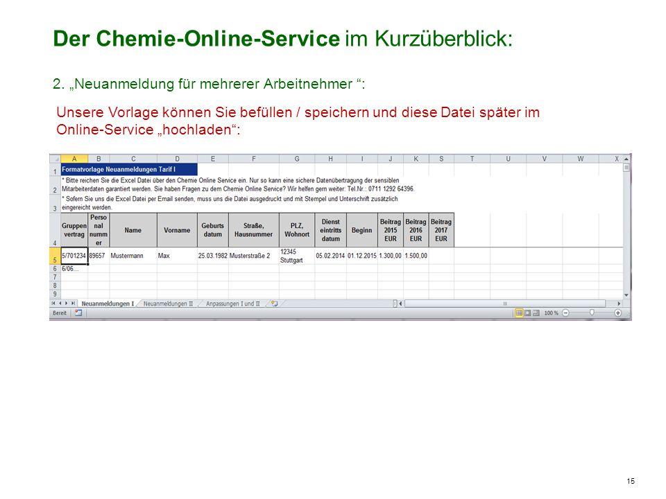 """15 Der Chemie-Online-Service im Kurzüberblick: Unsere Vorlage können Sie befüllen / speichern und diese Datei später im Online-Service """"hochladen : 2."""