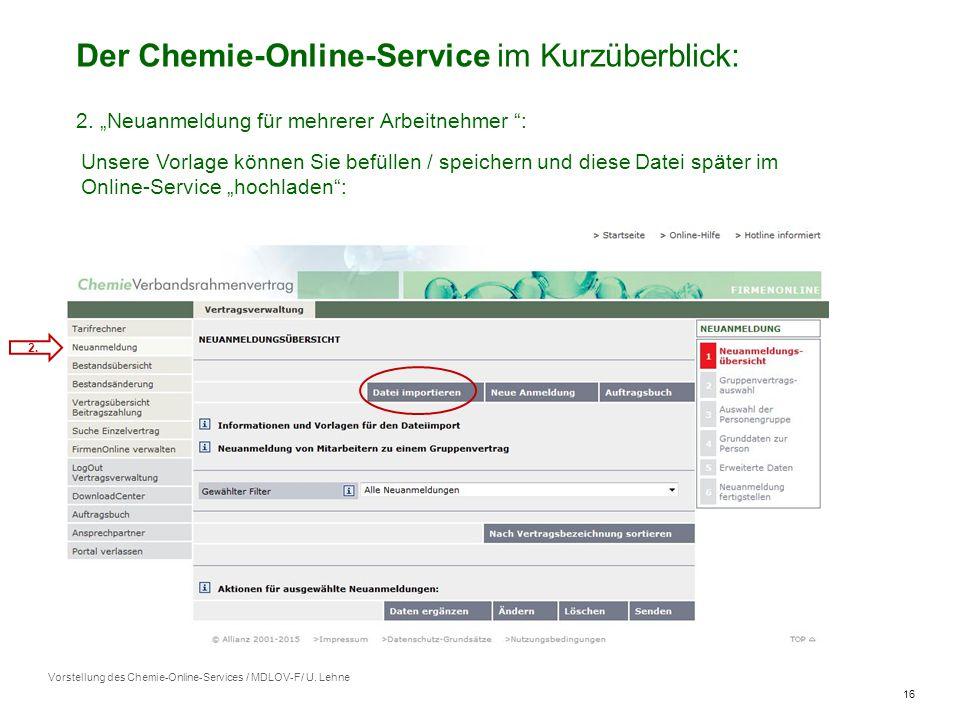 16 Vorstellung des Chemie-Online-Services / MDLOV-F/ U.