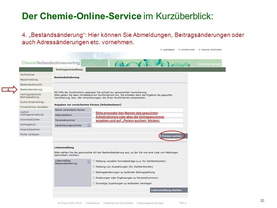 20 Der Chemie-Online-Service im Kurzüberblick: 4.