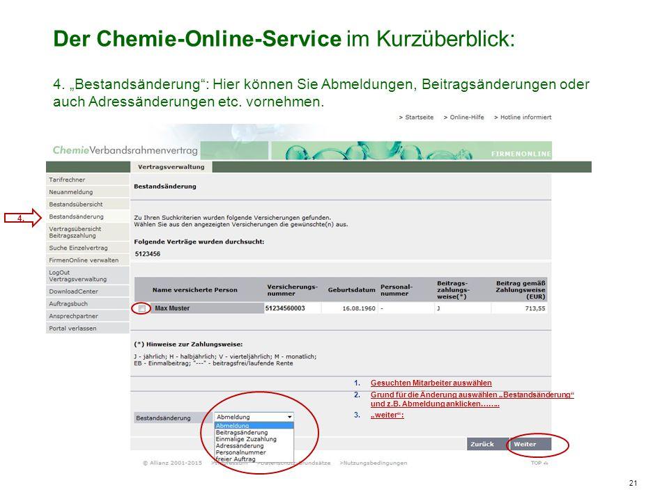 21 Der Chemie-Online-Service im Kurzüberblick: 4.