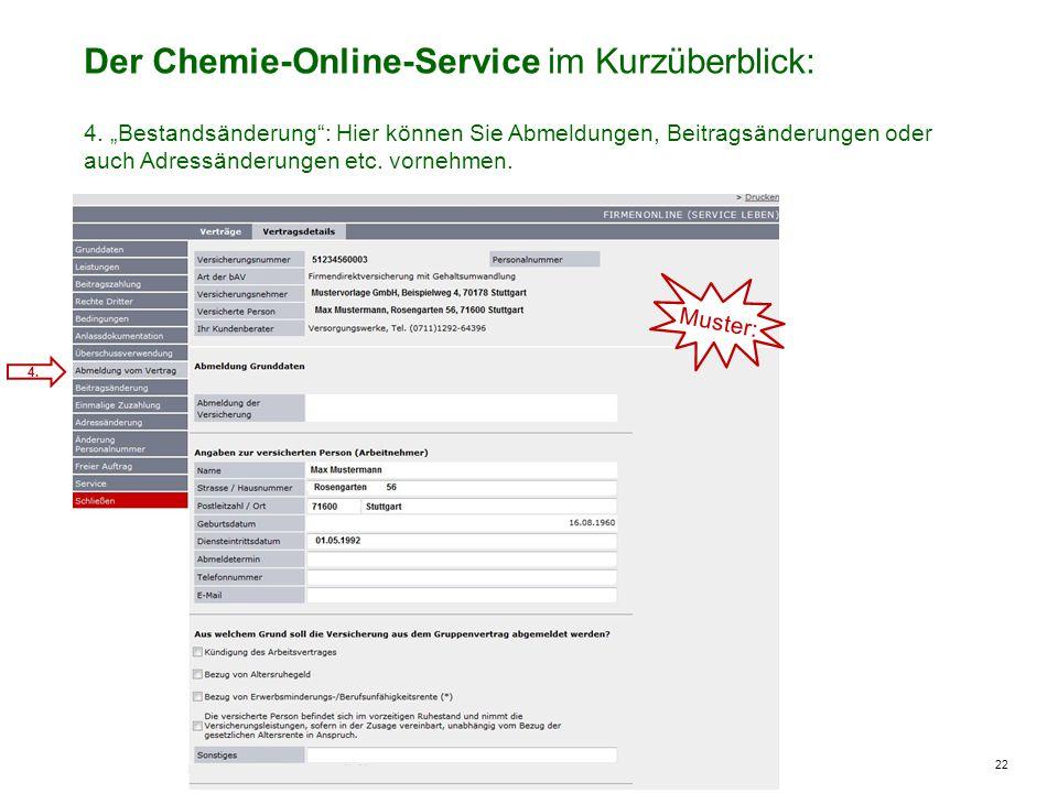 22 Der Chemie-Online-Service im Kurzüberblick: 4. Muster: 4.