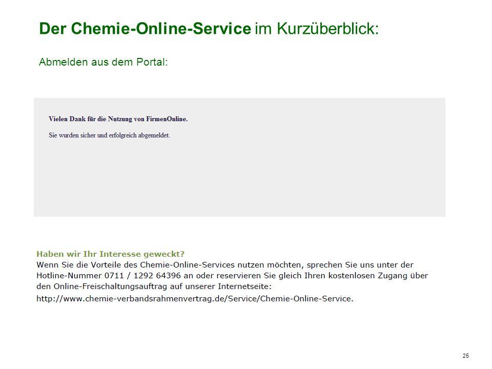 25 Der Chemie-Online-Service im Kurzüberblick: Abmelden aus dem Portal: