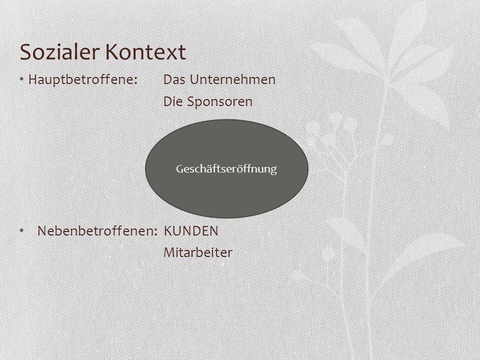 Sozialer Kontext Hauptbetroffene:Das Unternehmen Die Sponsoren Nebenbetroffenen: KUNDEN Mitarbeiter Geschäftseröffnung