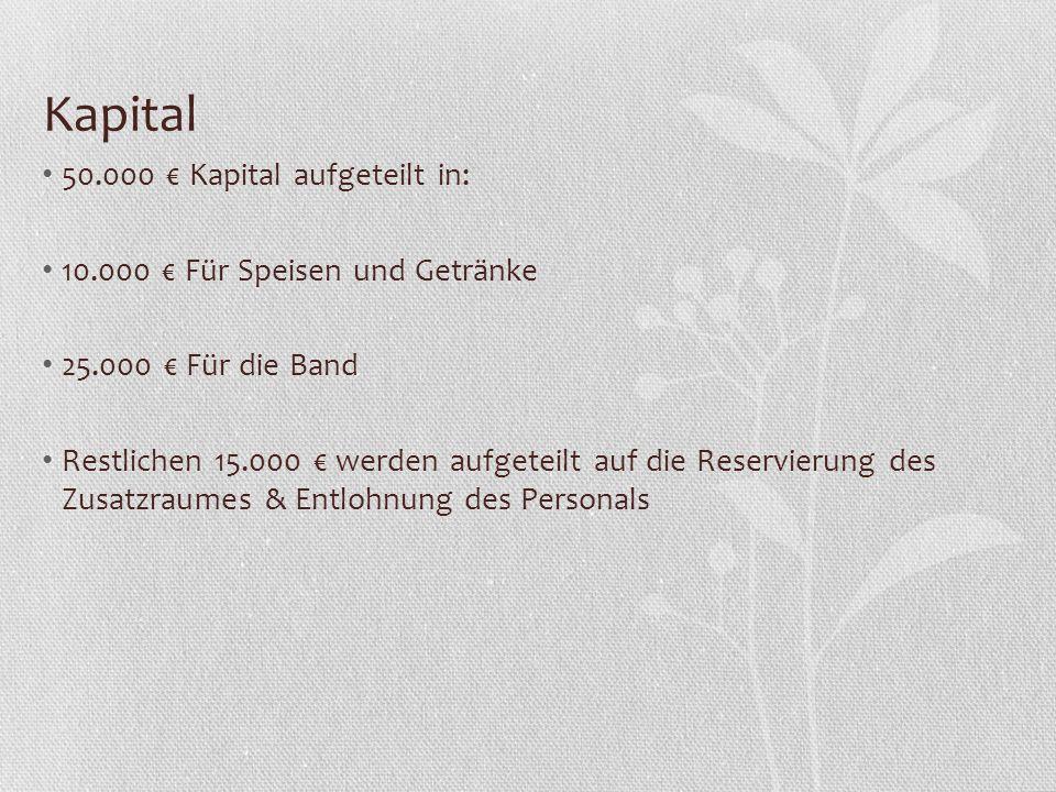 Kapital 50.000 € Kapital aufgeteilt in: 10.000 € Für Speisen und Getränke 25.000 € Für die Band Restlichen 15.000 € werden aufgeteilt auf die Reservie