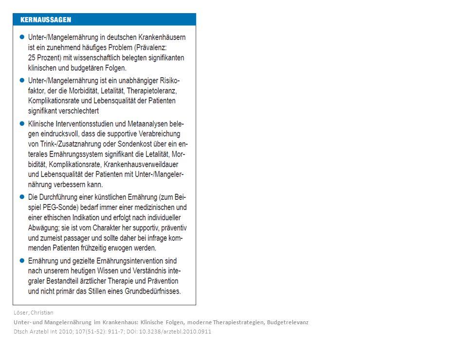 Löser, Christian Unter- und Mangelernährung im Krankenhaus: Klinische Folgen, moderne Therapiestrategien, Budgetrelevanz Dtsch Arztebl Int 2010; 107(5