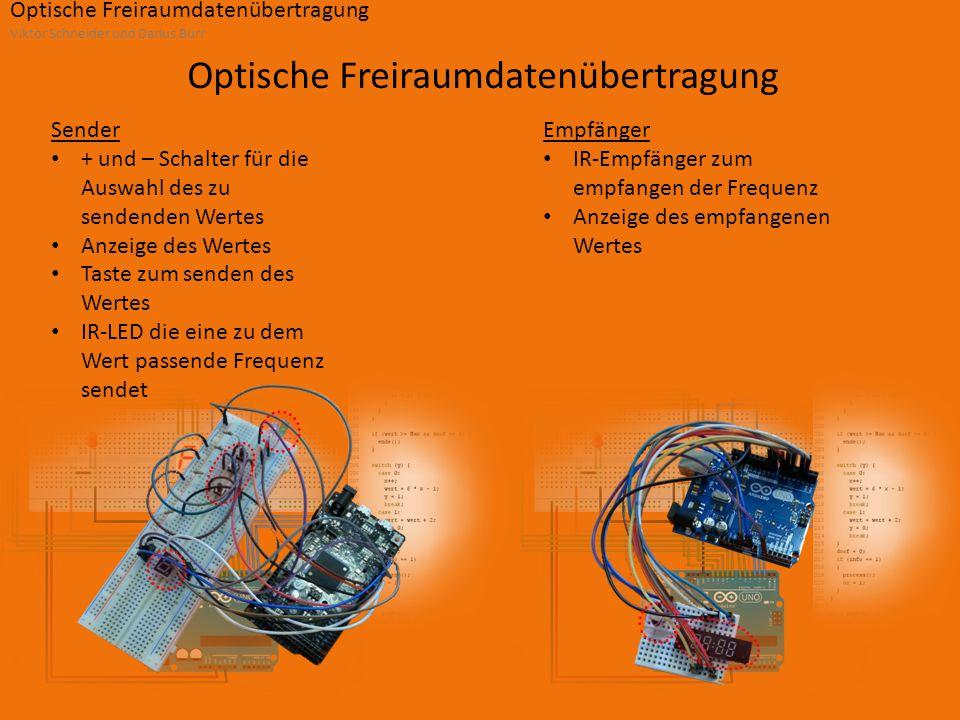 Optische Freiraumdatenübertragung Viktor Schneider und Darius Burr Optische Freiraumdatenübertragung Sender + und – Schalter für die Auswahl des zu sendenden Wertes Anzeige des Wertes Taste zum senden des Wertes IR-LED die eine zu dem Wert passende Frequenz sendet Empfänger IR-Empfänger zum empfangen der Frequenz Anzeige des empfangenen Wertes